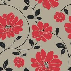 Red And Black Floral Wallpaper