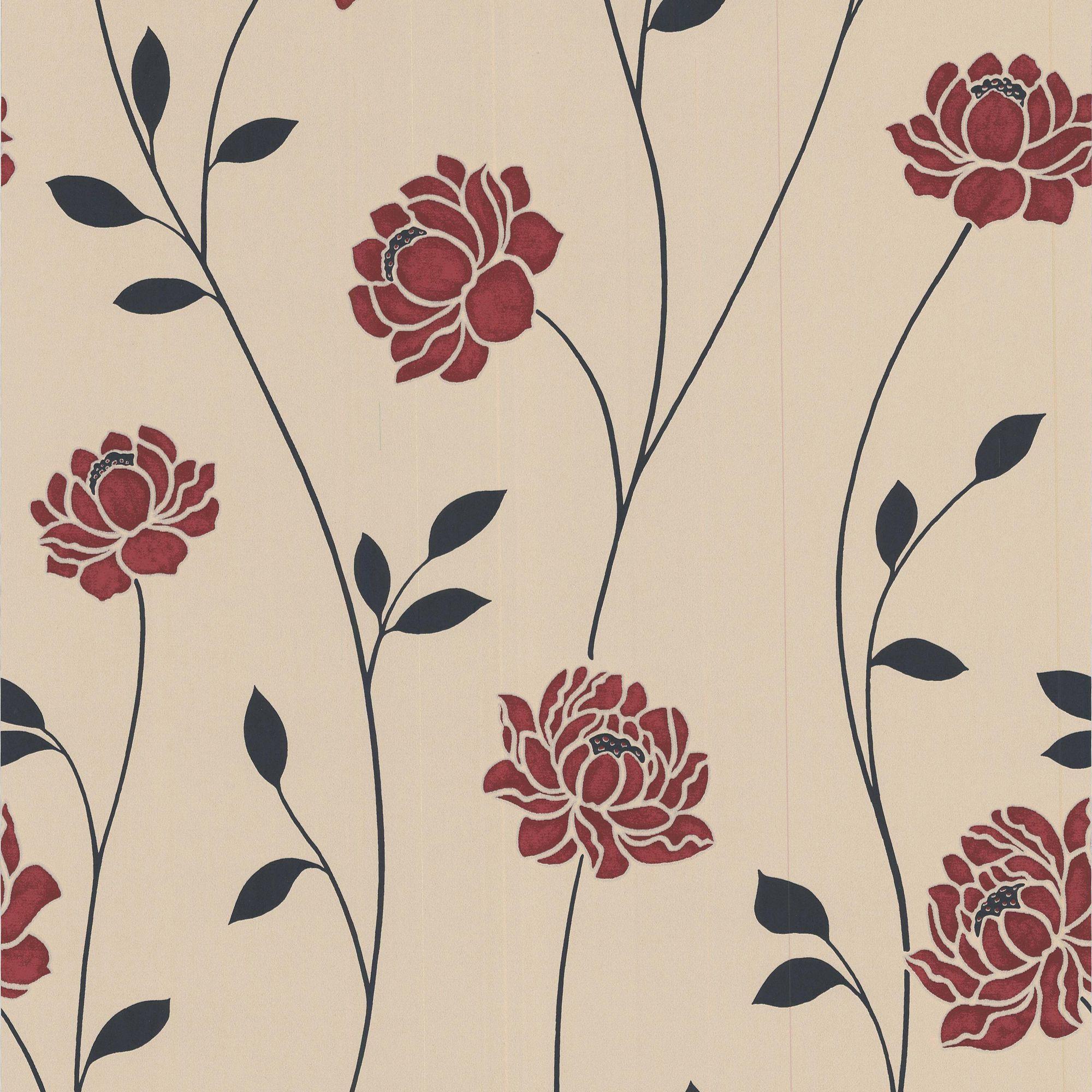 Download Red And Cream Floral Wallpaper Gallery