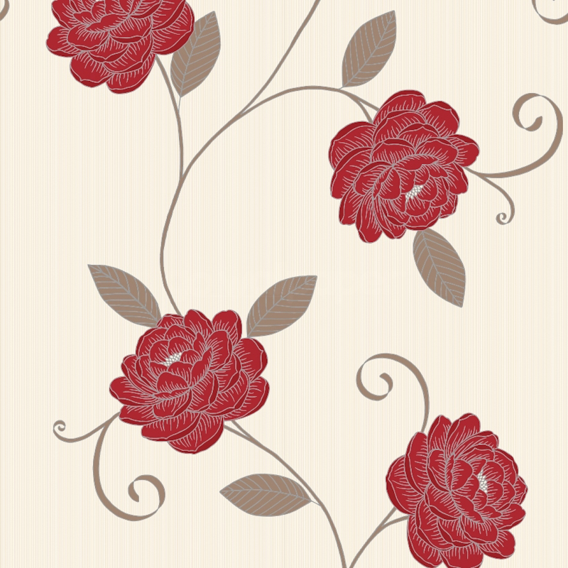 Red And Cream Floral Wallpaper