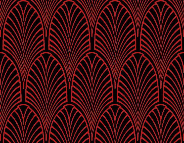Red Art Deco Wallpaper