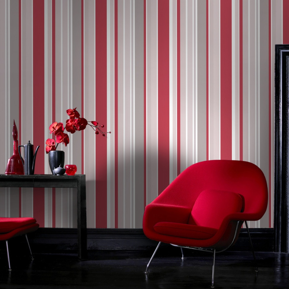 Red Grey And Cream Striped Wallpaper