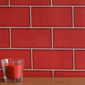Red Tile Effect Wallpaper
