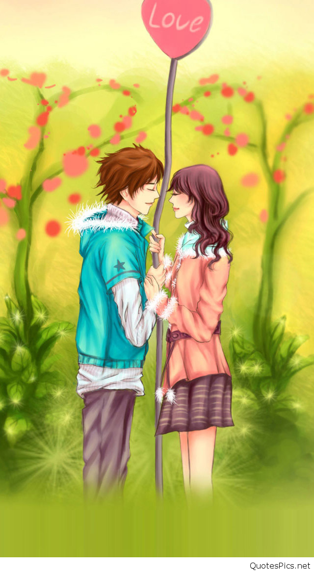 Romantic Love Cartoon Wallpaper