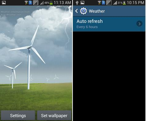 Samsung Windy Weather Live Wallpaper