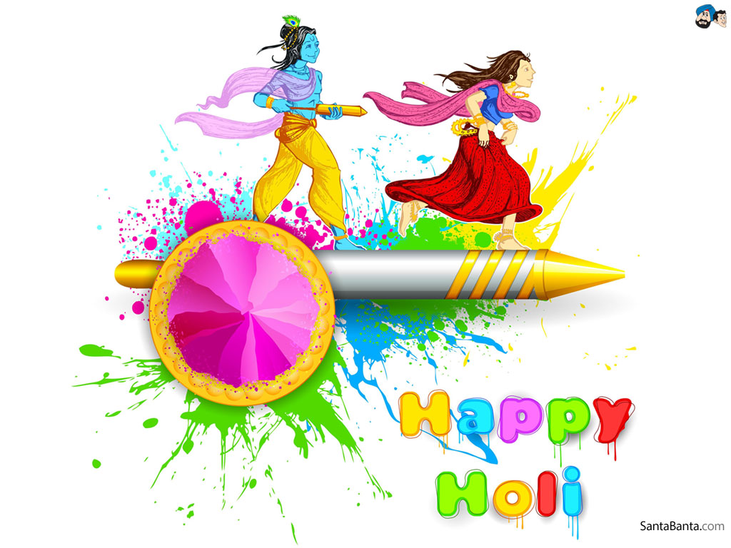 Santa Banta Holi Wallpaper