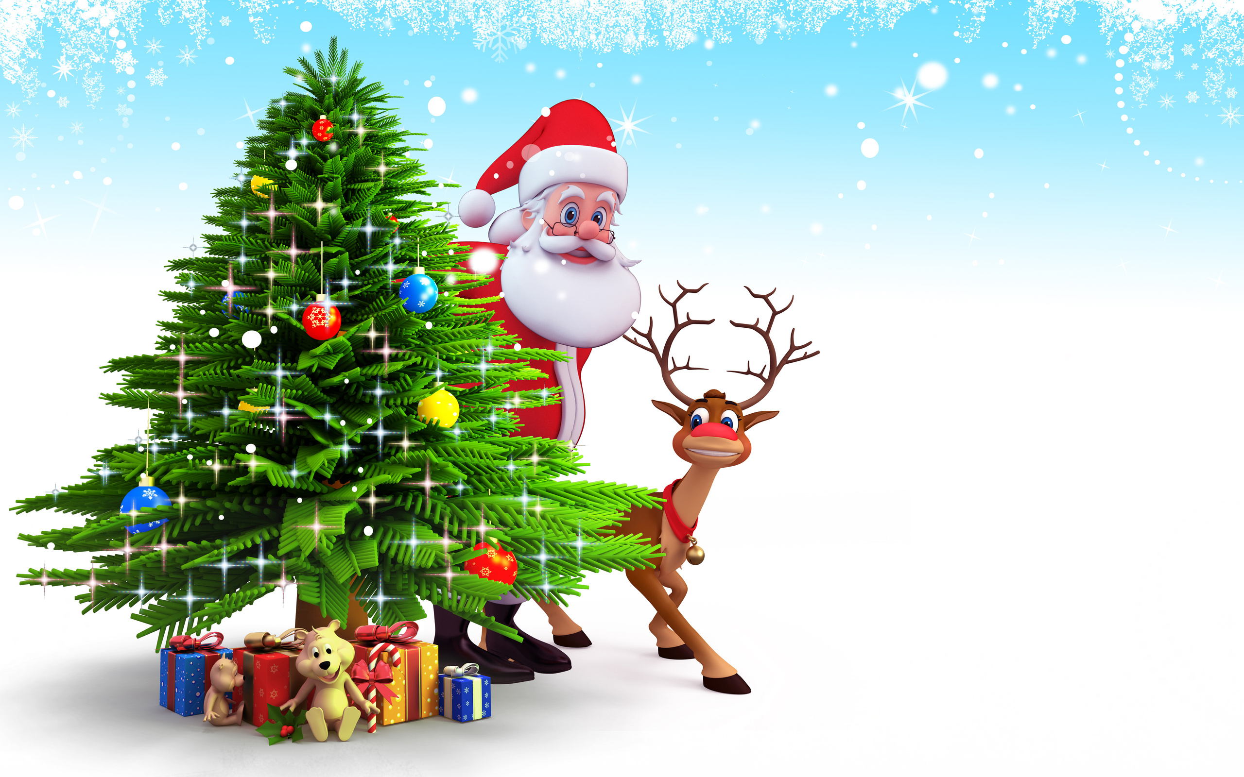 Santa Claus And Reindeer Wallpaper