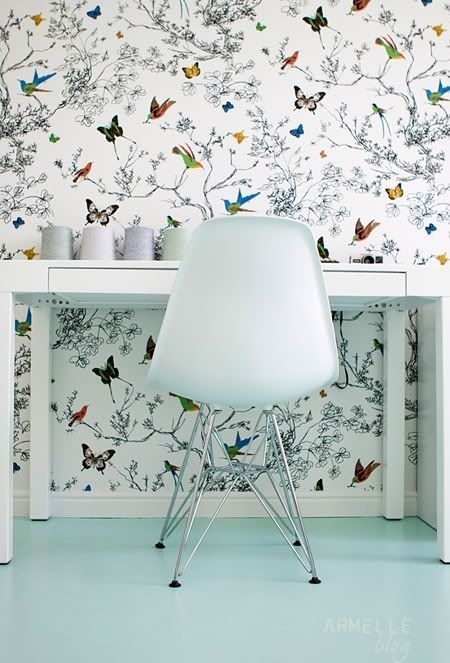 Schumacher Birds And Butterflies Wallpaper