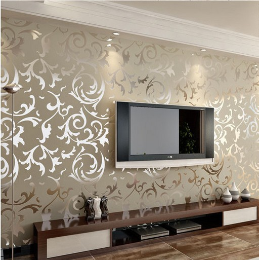 Silver And Gold Damask Wallpaper