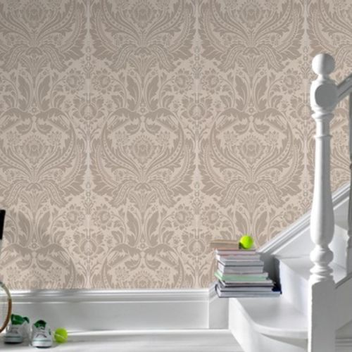 Elegant Cream Hallway With Damask Wallpaper: Download Silver And Gold Damask Wallpaper Gallery