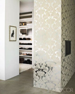 Silver Foil Damask Wallpaper