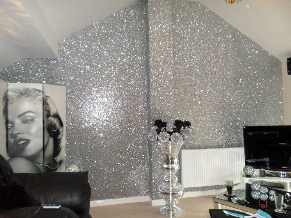 Silver Glitter Wallpaper Bedroom