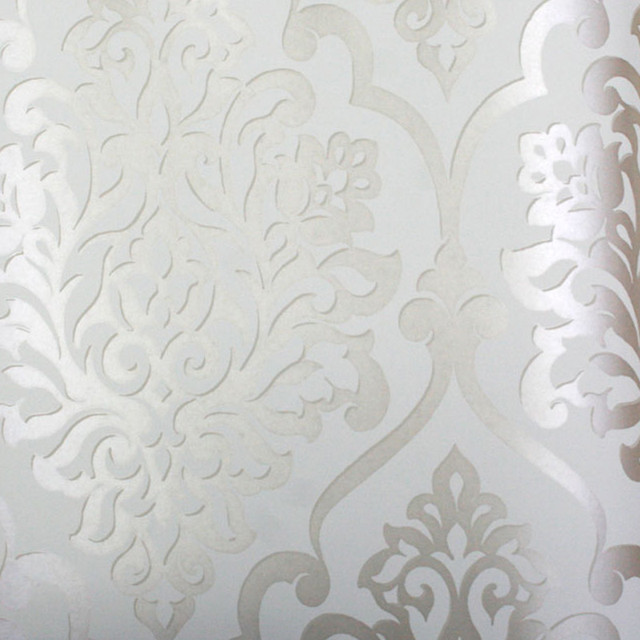 Silver White Damask Wallpaper