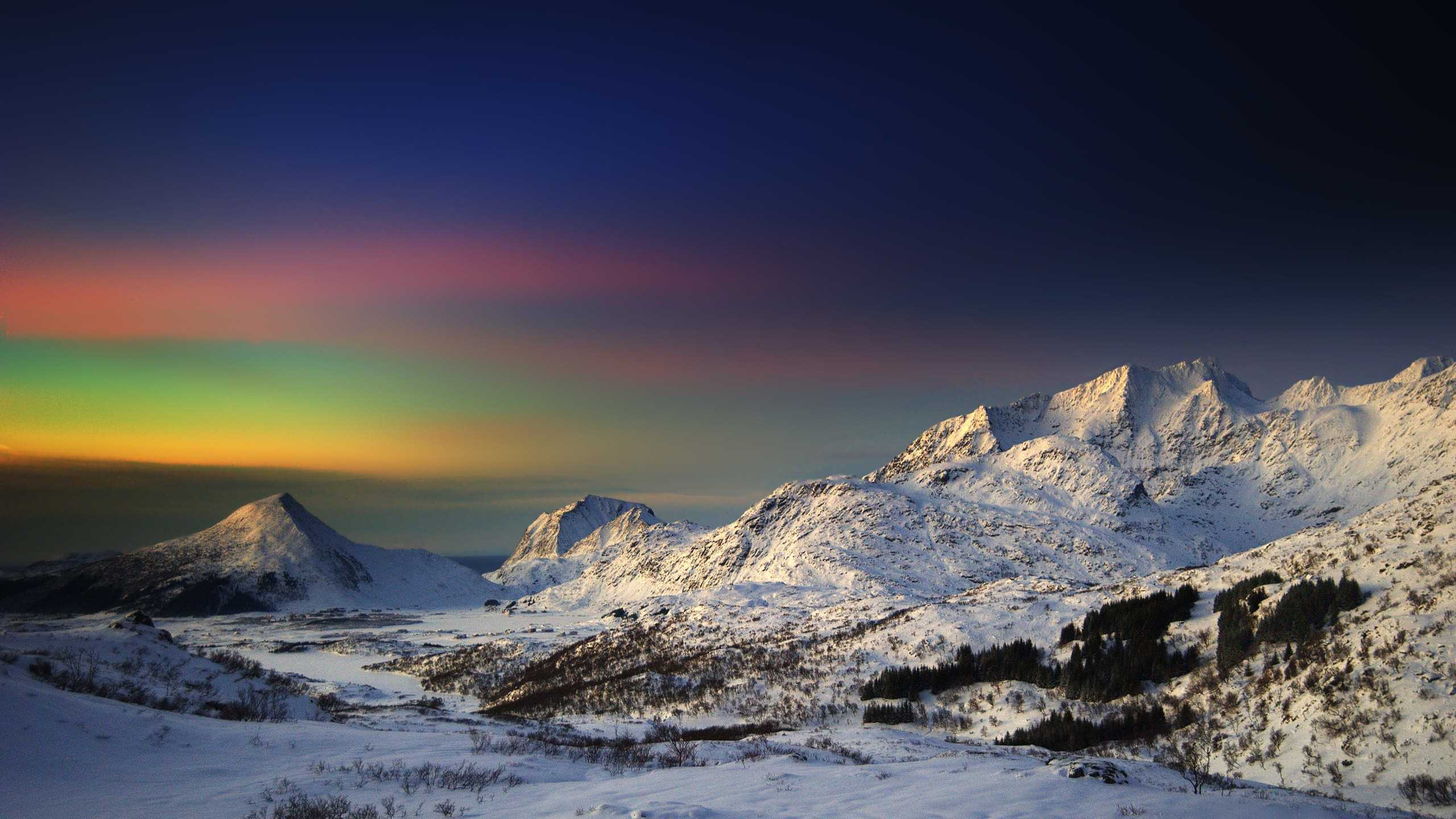 Group Of Snowy Mountains Hd Wallpaper Art