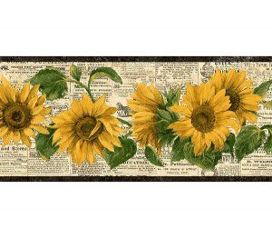 Sunflower Wallpaper Border Kitchen