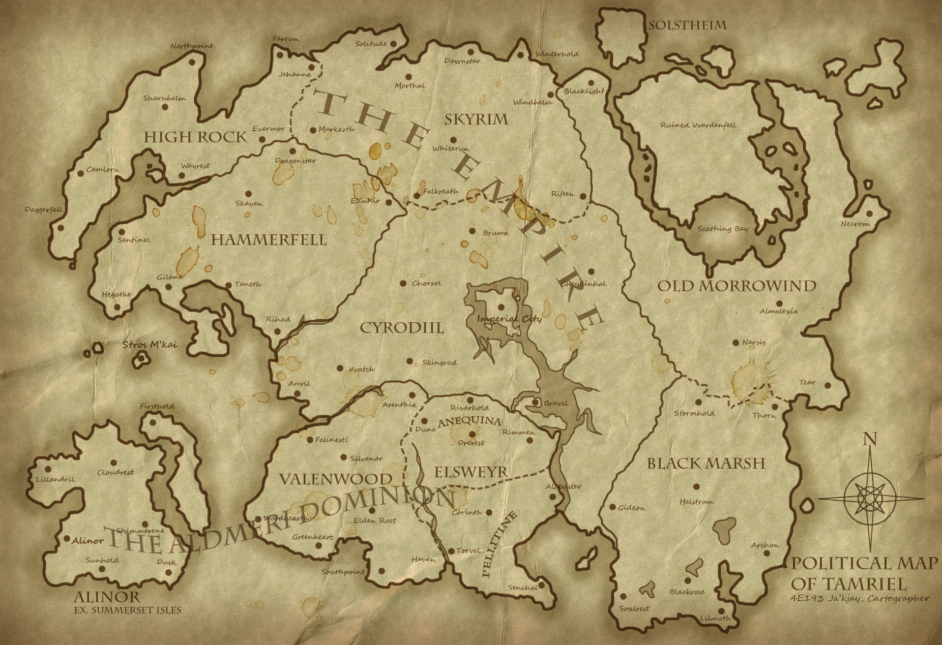 Tamriel Map Wallpaper