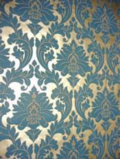 Teal And Gold Damask Wallpaper