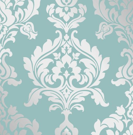 Teal And Silver Damask Wallpaper
