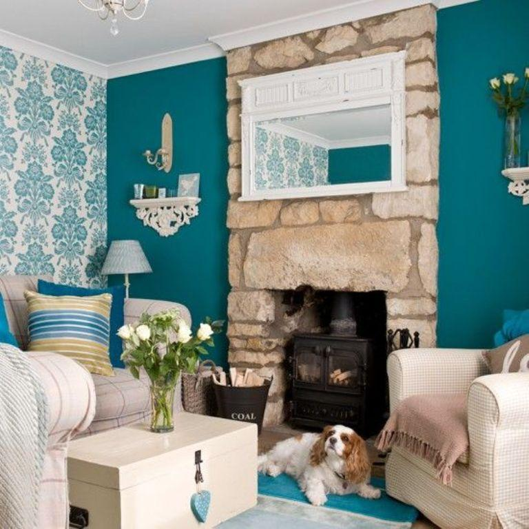 Teal Wallpaper Living Room
