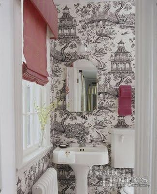 Toile Wallpaper Bathroom