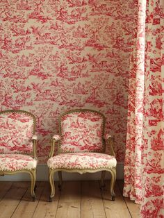Toile Wallpaper Red
