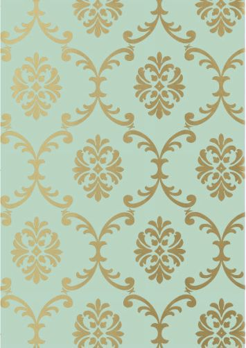 Turquoise And Gold Damask Wallpaper