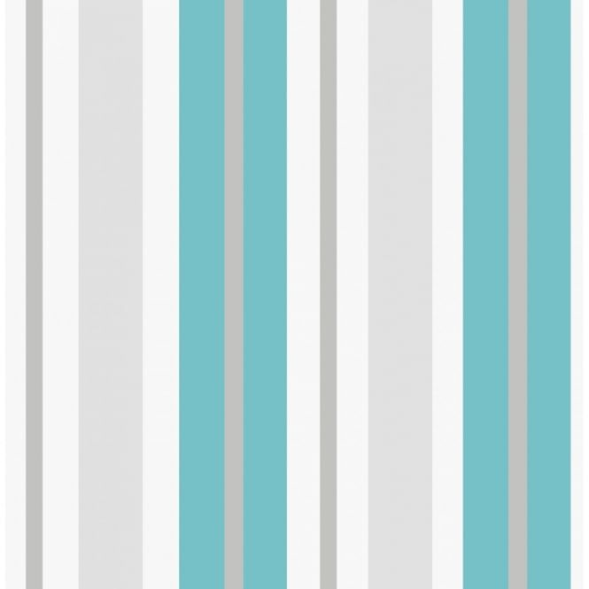 Turquoise And White Striped Wallpaper