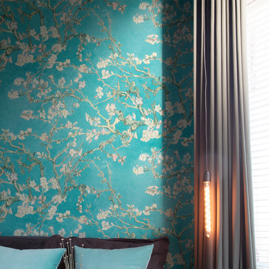 Teal And Gold Floral Wallpaper