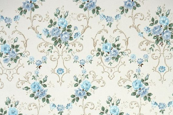 Vintage Blue Flower Wallpaper