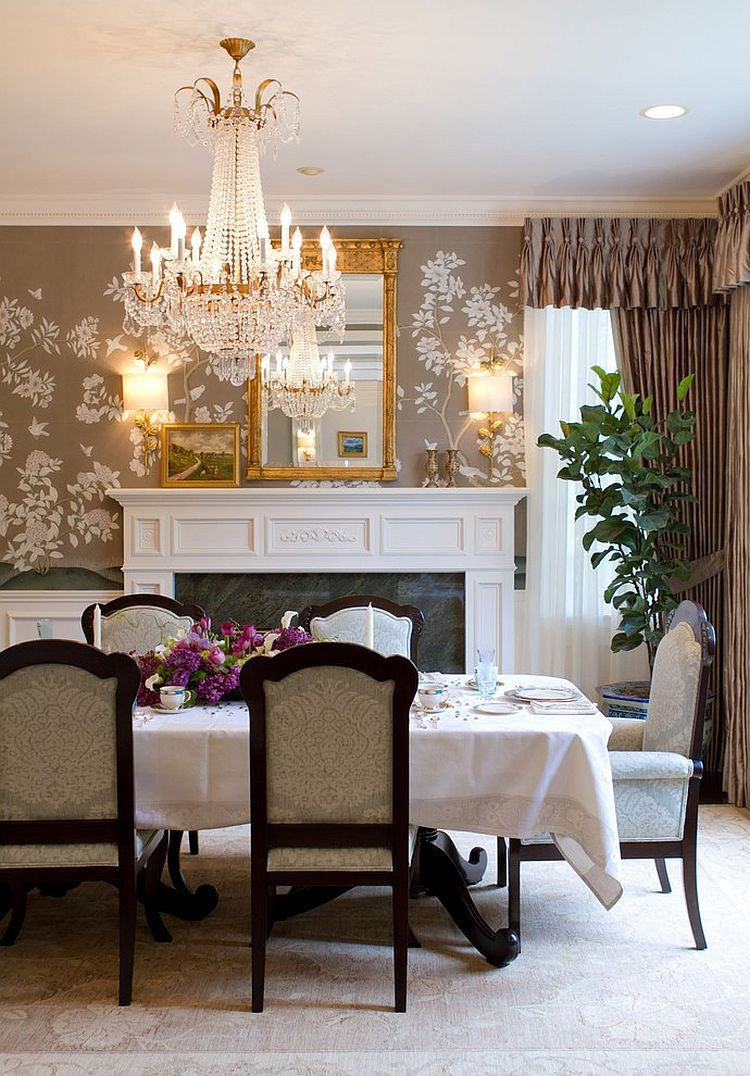 Wallpaper Accent Wall Dining Room