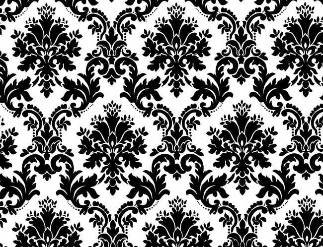 Wallpaper Black And White Floral