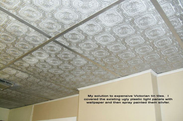 Wallpaper on ceiling tiles
