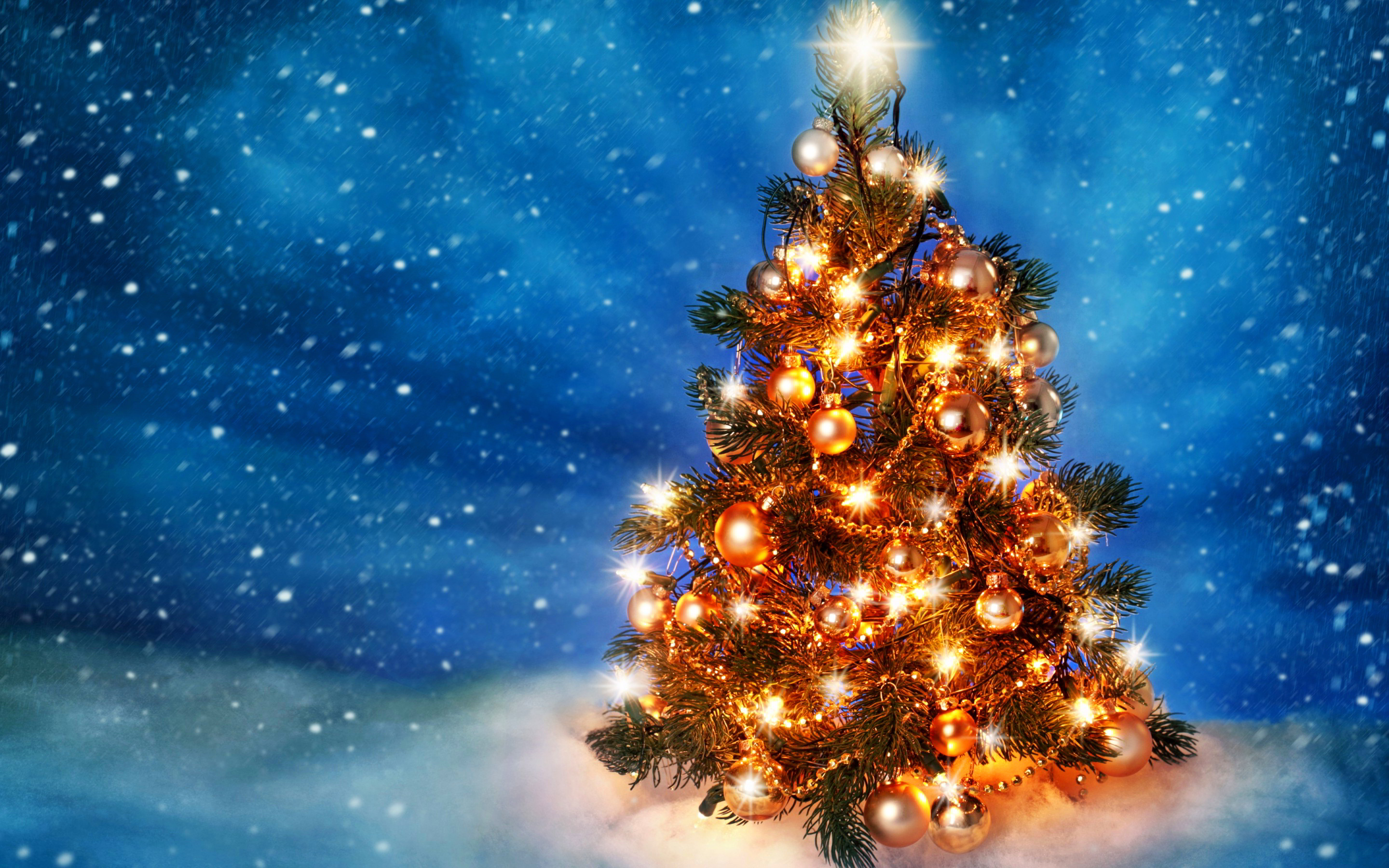 gold christmas tree wallpaper