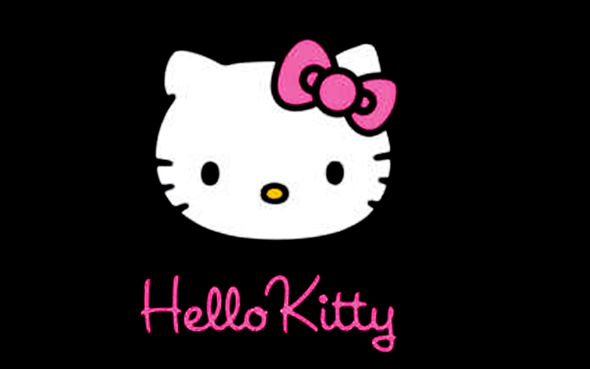 Wallpaper Hello Kitty Black
