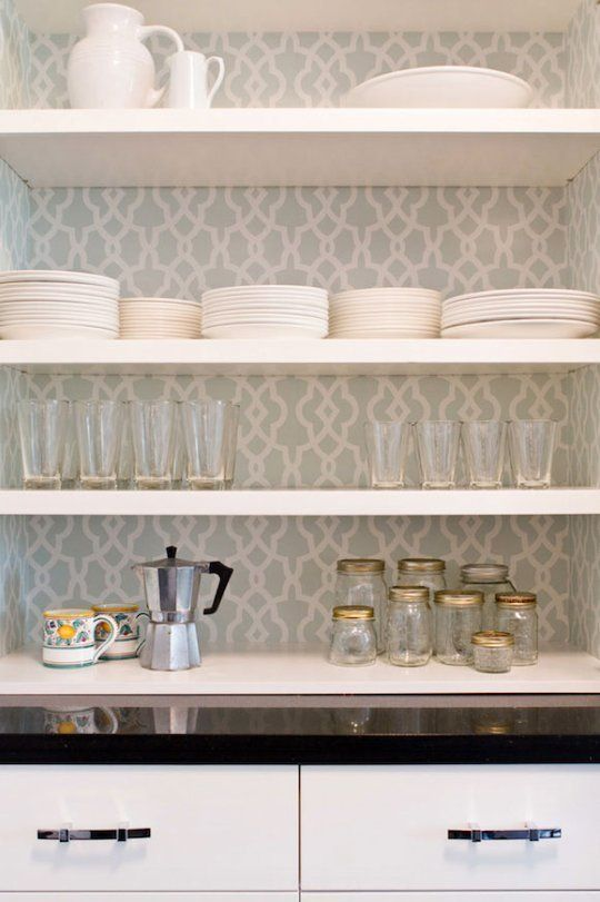 Wallpaper In Kitchen Cabinets