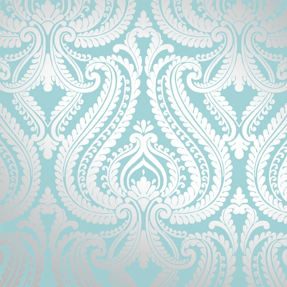 Wallpaper Teal And Silver