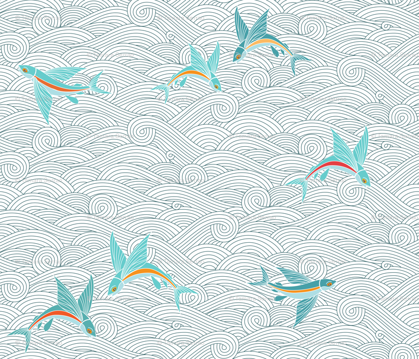 Wallpaper With Fish Design