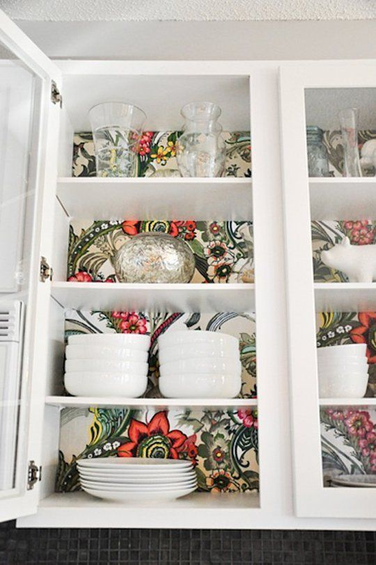 Wallpapering Kitchen Cabinets