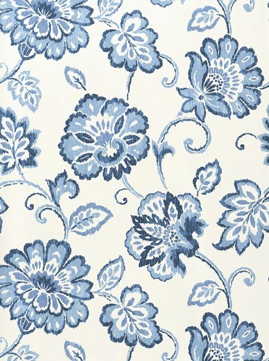 White And Blue Floral Wallpaper