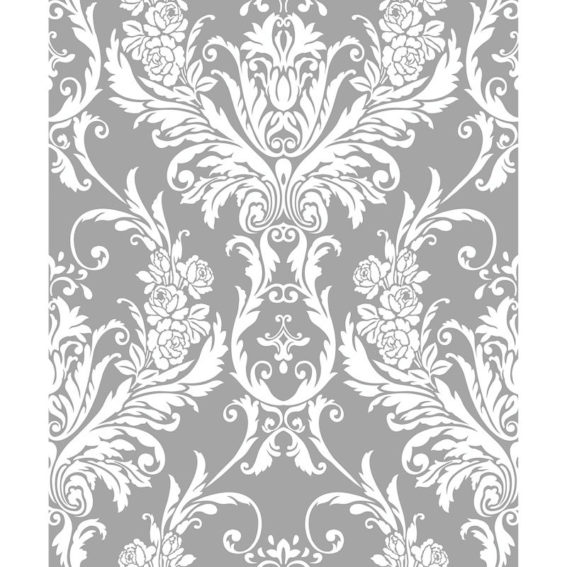 White And Grey Damask Wallpaper