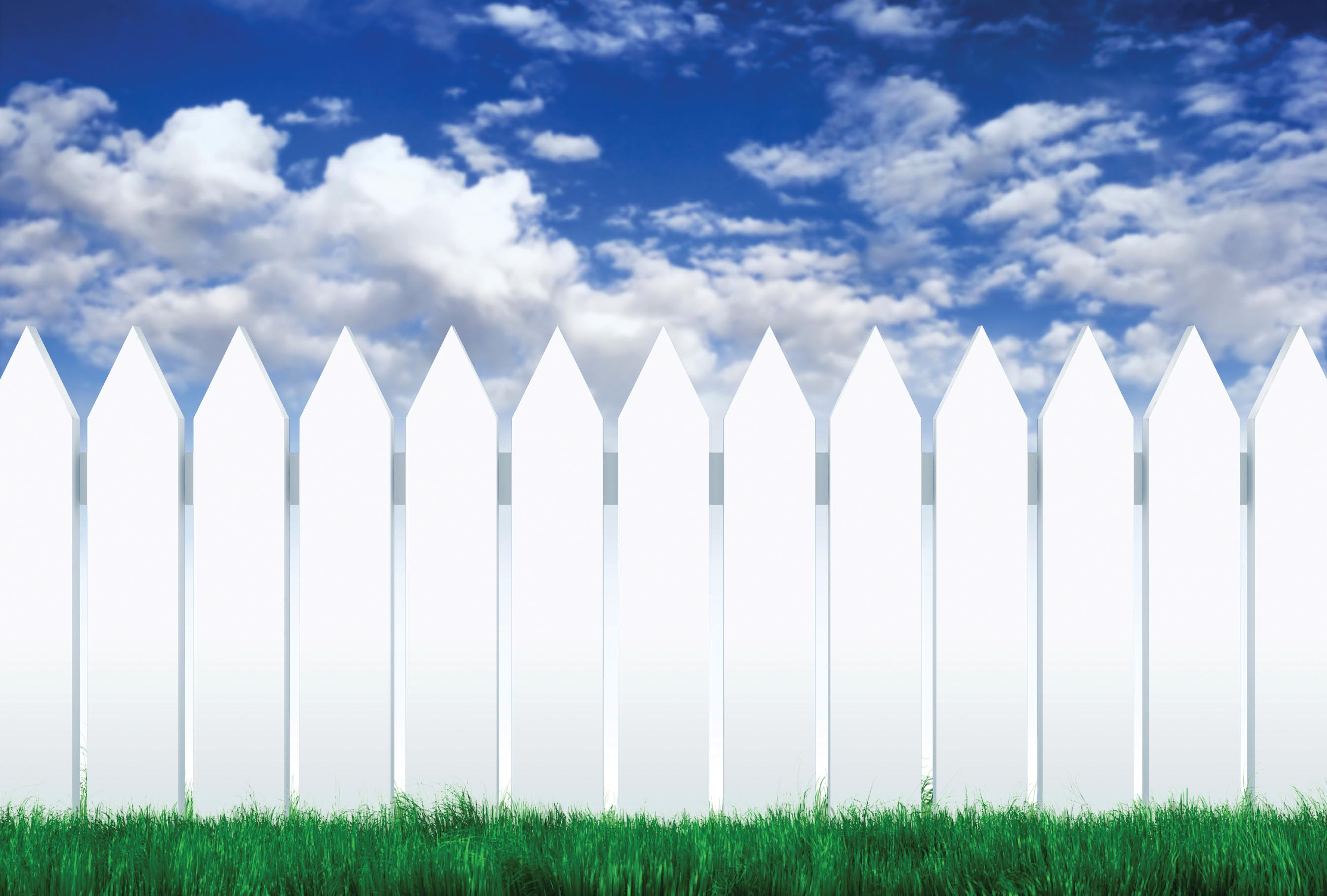 White Picket Fence Wallpaper