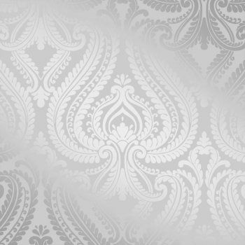 White Silver Damask Wallpaper