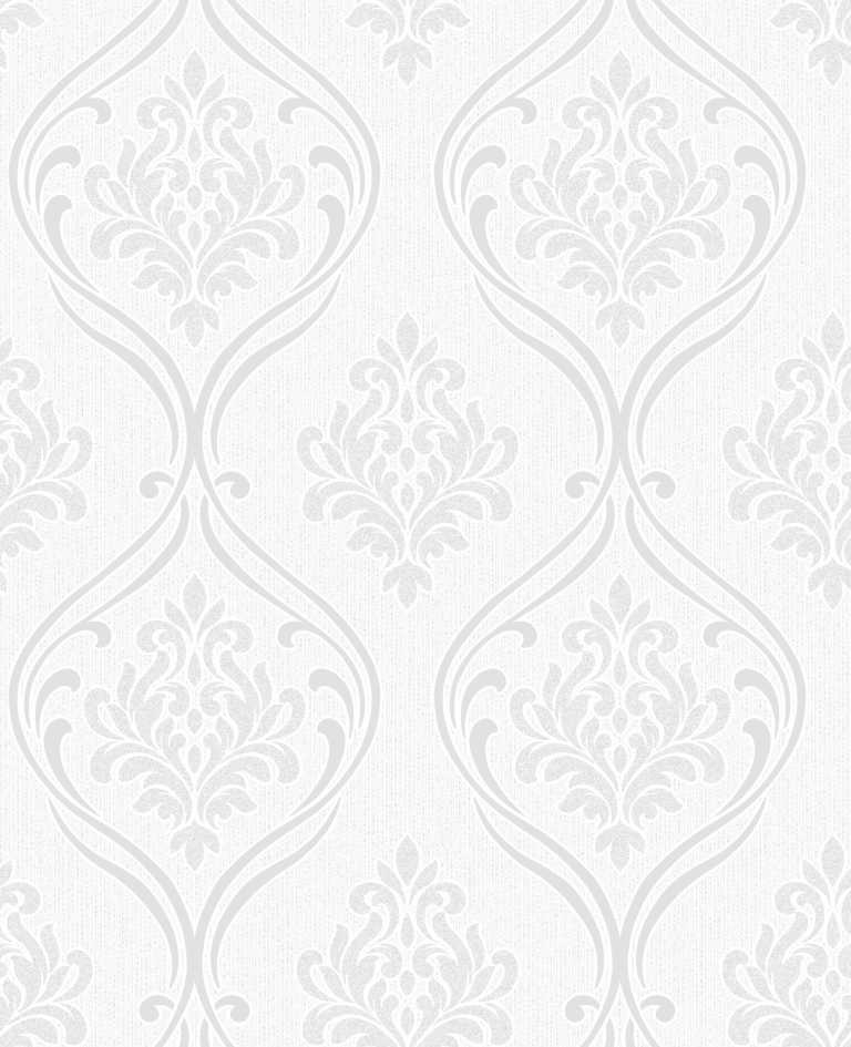 White Wallpaper Silver Pattern