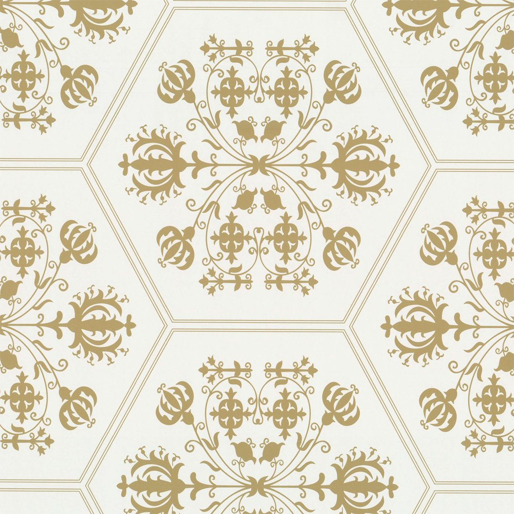 White Wallpaper With Gold Pattern