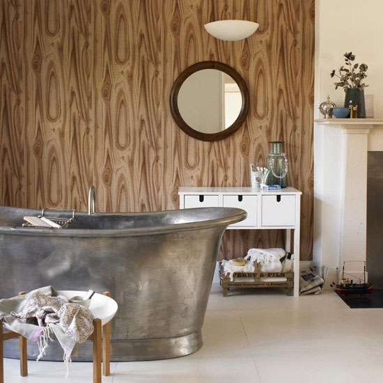 Wood Effect Bathroom Wallpaper