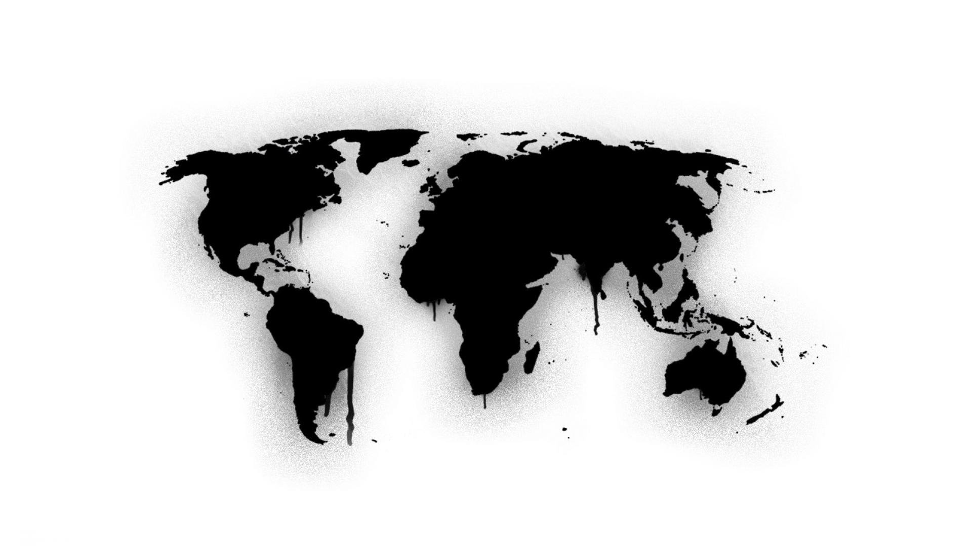 Paint Wall Mural Download World Map Wallpaper Black And White Gallery