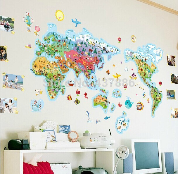 Download world map wallpaper kids room gallery for Kids room world map