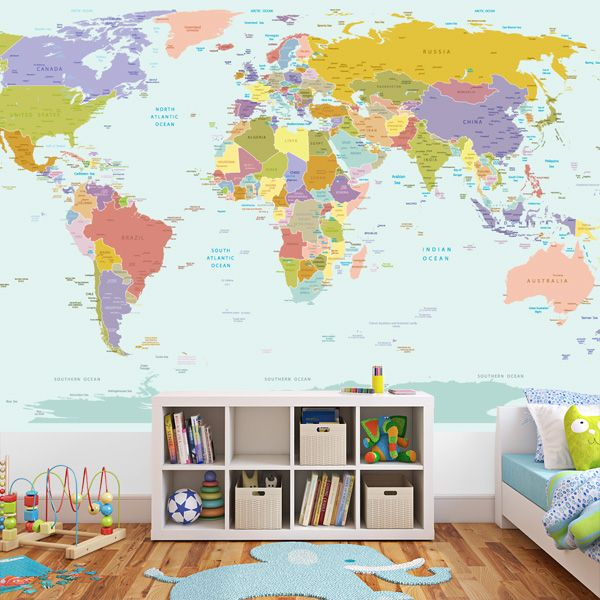 World Map Wallpaper Kids Room