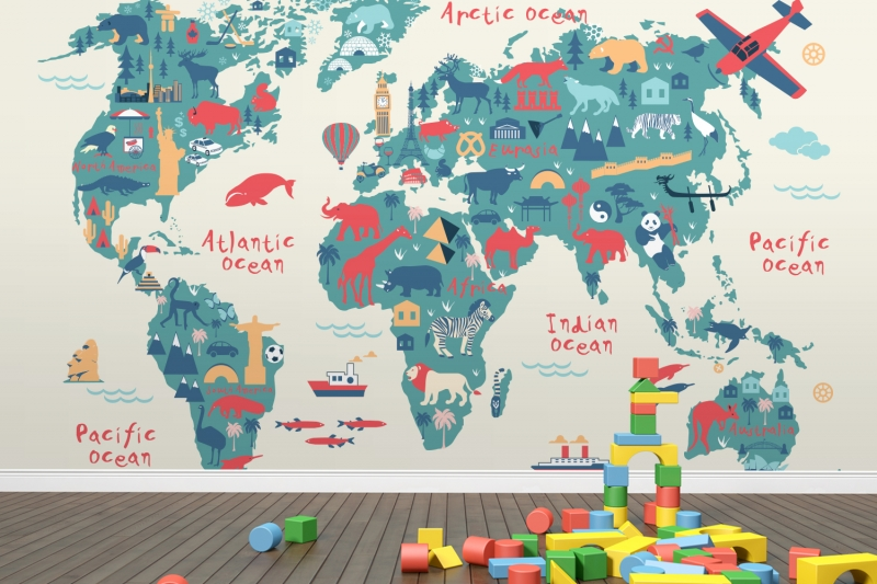 World Map Wallpaper Kids