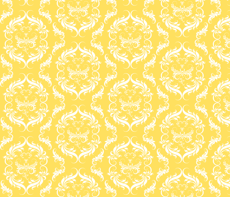 Yellow Damask Wallpaper