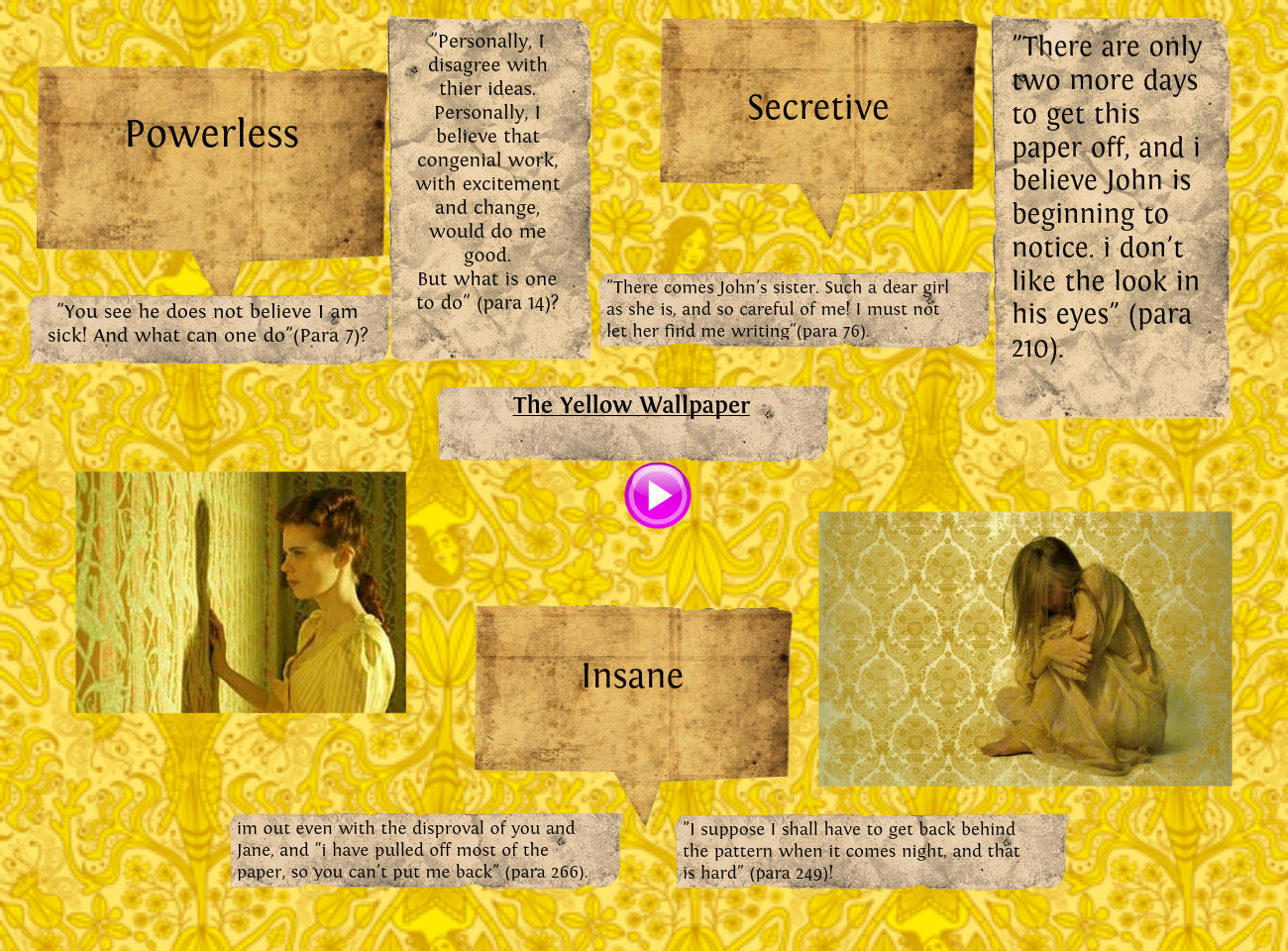 setting essay on the yellow wallpaper Essays, term papers, book reports, research papers on literature: yellow wallpaper free papers and essays on yellow wallpaper by charlotte gilman we provide free model essays on literature: yellow wallpaper, yellow wallpaper by charlotte gilman reports, and term paper samples related to yellow wallpaper by charlotte gilman.